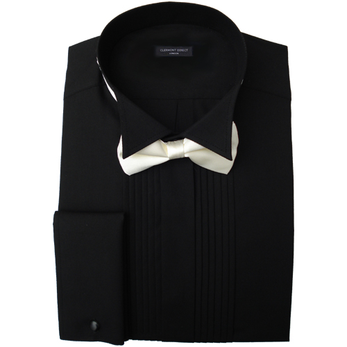 Pleated Wing Collar Black Dress Shirt 1850