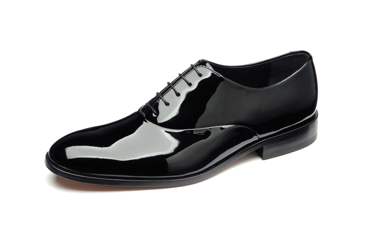 These good quality black patent leather shoes are made by Loake