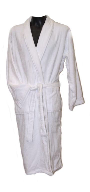 100 White Cotton Velour Dressing Gown 45