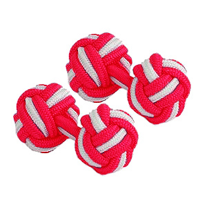 Red & White Silk Knot Cufflinks