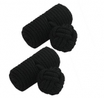 Black Barrel Silk Knot Cufflinks