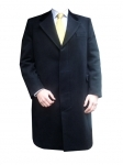 Black Cashmere Overcoat with Velvet Collar