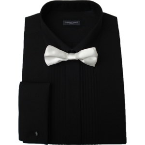 pleated fold down collar black dress shirt