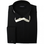 Black Pleated Wing Collar Dress Shirt