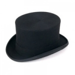 EX-HIRE Black Wool Felt Top Hat