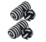 Black & White Barrel Silk Knot Cufflinks