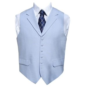 Irish Linen Waistcoat in Powder Blue