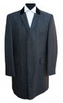 Dark Grey Herringbone Wool Overcoat