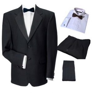2 Button Single Breasted Dinner Suit, Shirt, BowTie & Cummerbund
