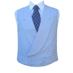 Double Breasted Irish Linen Waistcoat in Powder Blue