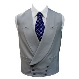100% Wool Double Breasted Dove Grey Waistcoat