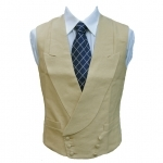 Double Breasted Irish Linen Waistcoat in Sand