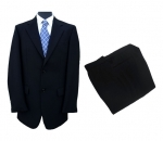 Black Herringbone Wool Suit