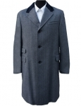 Light Grey Herringbone Wool Overcoat