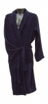 100% Navy Blue Cotton Velour Dressing Gown