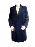 Navy Blue Cashmere Overcoat with Velvet Collar