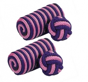 Navy Blue & Pink Barrel Silk Knot Cufflinks