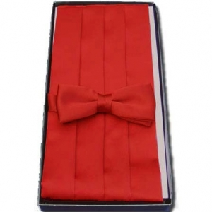 Red Cummerbund & Bow Tie Set
