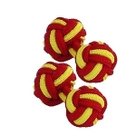 Red & Yellow Silk Knot Cufflinks