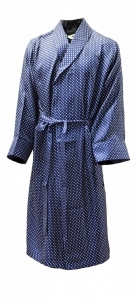100% Silk Blue & White Polka Dot Dressing Gown