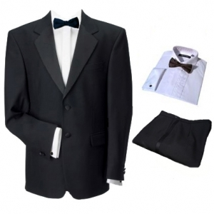 2 Button Single Breasted Dinner Suit, Shirt & Bow Tie