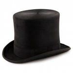 Christys Black Polished Fur Taller Top Hat