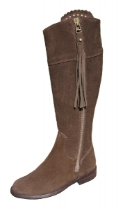 Ladies Suede Spanish Riding Boots in Chocolate