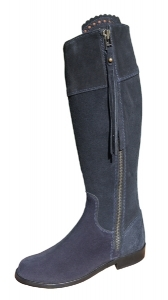 Ladies Suede Spanish Riding Boots in Blue