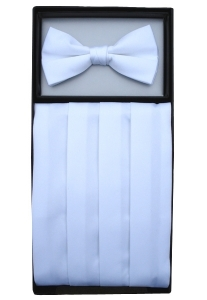 White Cummerbund & Bow Tie Set
