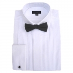 RE-PACKAGED 100% Cotton Pleated Fold Down Collar Dress Shirt