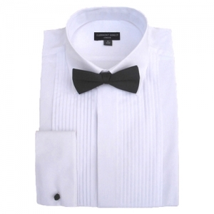 100% Cotton Pleated Fold Down Collar Dress Shirt