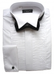 Poly-Cotton Pleated Wing Collar Dress Shirt