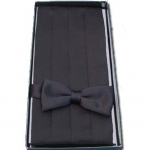 Black Cummerbund & Bow Tie Set
