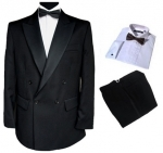 Finest Barathea Wool Double Breasted Dinner Suit, Shirt & Tie