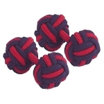 Navy Blue & Pink Silk Knot Cufflinks