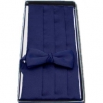 Navy Blue Cummerbund & Bow Tie Set