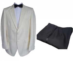 100% Wool Cream Tuxedo Jacket & Black Trousers